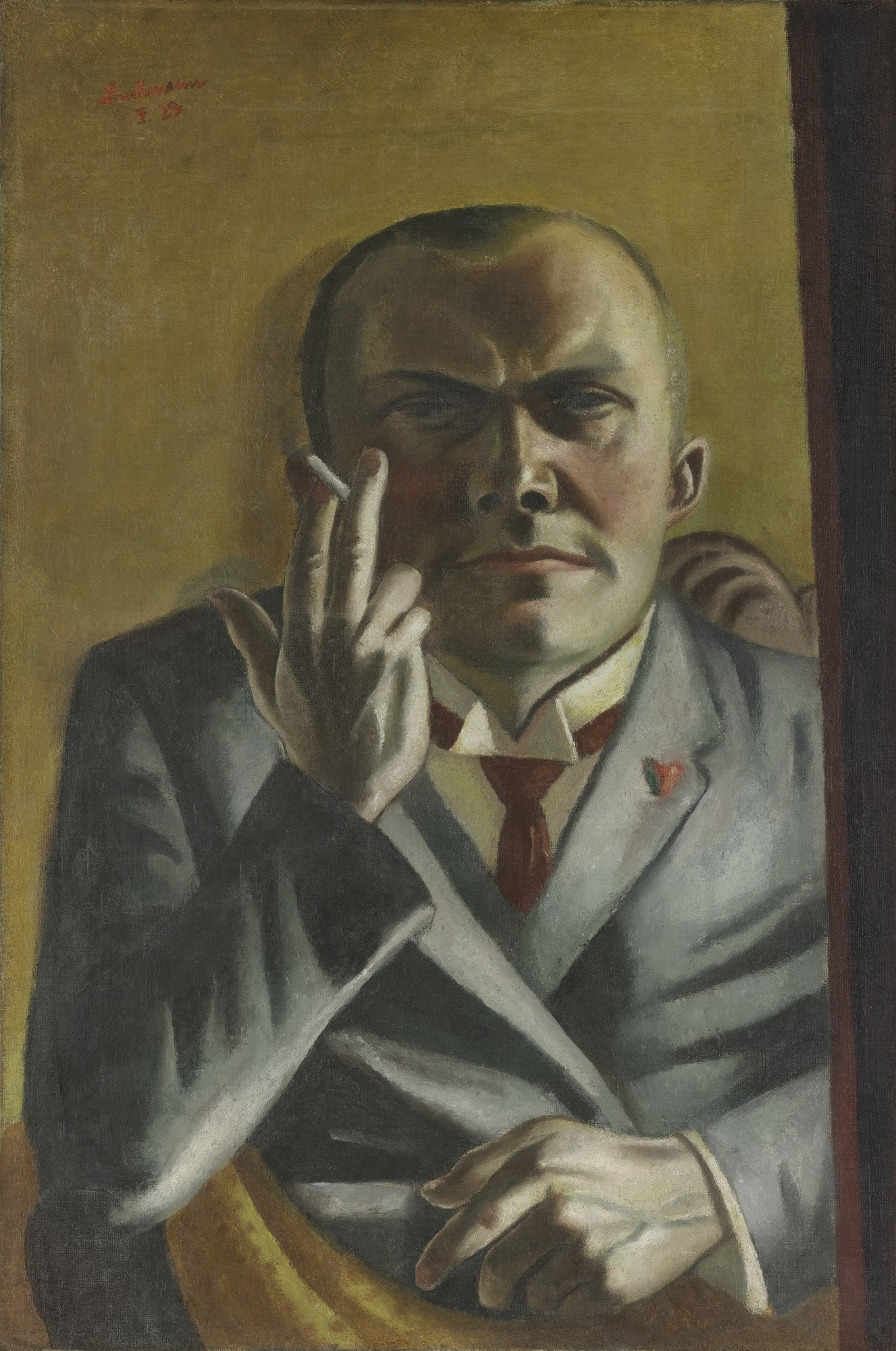 Max Beckmann, Self-Portrait with Cigarette, 1923, oil on canvas, 23 3/4 x 15 7/8 inches (MoMA)