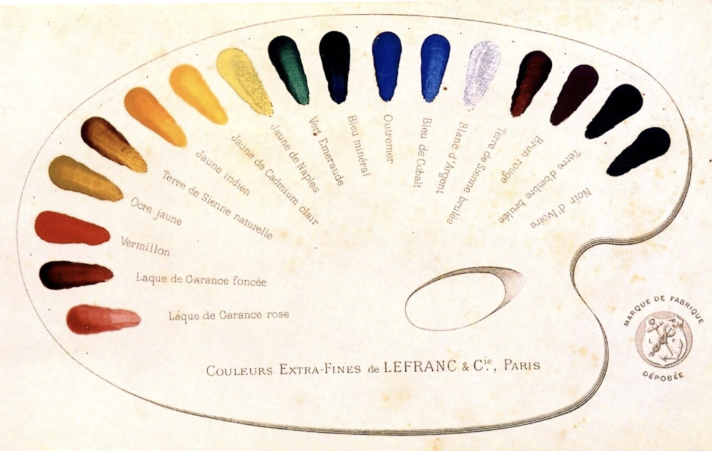 Samples of Lefranc & Company's oil paints from 1891, painted onto a printed diagram