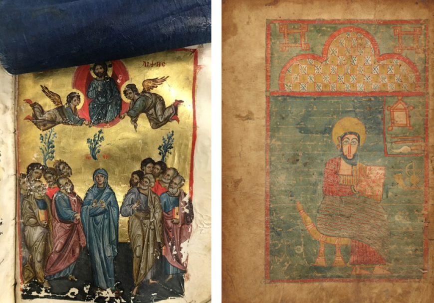 The Ascension in a Gospel book, with silk veil (top) used to protect the sacred image, early and late 13th century, made in Nicea or Nicomedia, Turkey. Tempera colors and gold leaf on parchment, 8 1/8 × 5 7/8 in. The J. Paul Getty Museum, Ms. Ludwig II 5 (83.MB.69), fol. 188. Saint John from a Gospel book, late fourteenth–early fifteenth century, made in Ethiopia. Tempera colors on parchment, 13 1/4 × 9 3/16 in. The J. Paul Getty Museum, gift of Sam Fogg, Ms. 89 (2005.3), verso. Digital images courtesy of the Getty's Open Content Program
