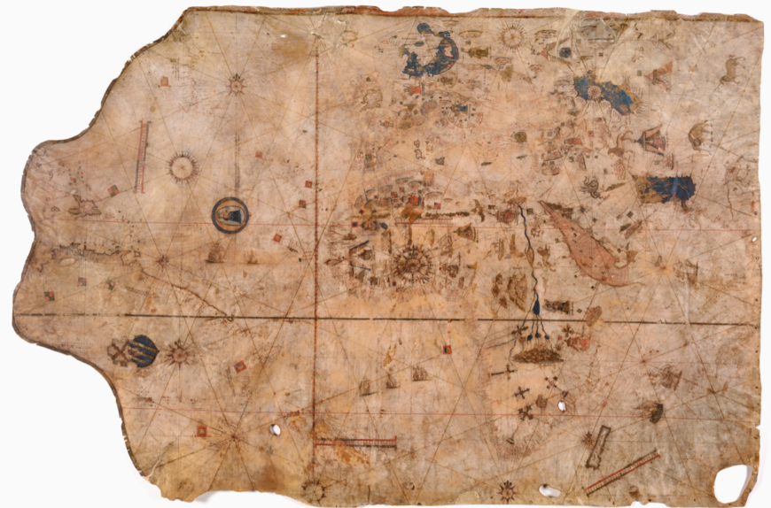 Portolan Chart, 1516, Vesconte Maggiolo, made in Naples. Parchment, 102 x 152 cm. The Huntington Library, Art Collections, and Botanical Gardens, San Marino, California, HM 427