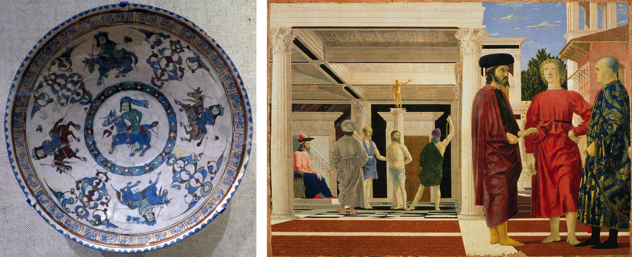 Left: Bowl with horsemen, late 12th - early 13th century, central Iran, Seljuk period (Cincinnati Art Museum, photo: Wmpearl, CC0); Right: Piero della Francesca, Flagellation of Christ, 1468-70, oil and tempera on panel, 58.4 x 81.5 cm (Galleria Nazionale delle Marche, Urbino)