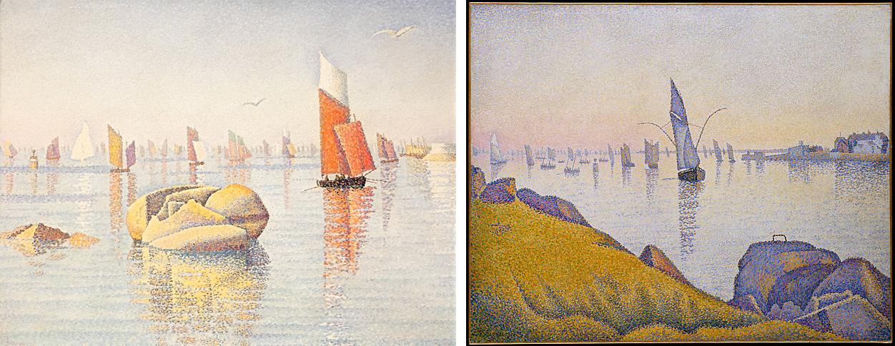 Left: Paul Signac, Morning Calm, Concarneau, Opus 219 (Larghetto), 1891, oil on canvas, 65.7 x 81.6 cm (private collection); Right: Paul Signac, Evening Calm, Concarneau, Opus 220 (Allegro Maestoso), 1891, oil on canvas, 64.9 x 81.3 cm (The Metropolitan Museum of Art)