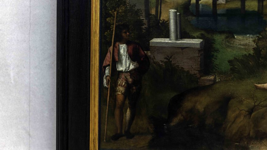 Giorgione, The Tempest, c. 1505-1508, oil with traces of tempera on canvas, 82 x 73 cm (Gallerie dell'Accademia, Venice)