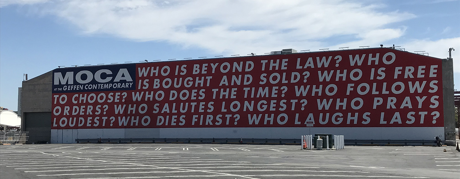 Barbara Kruger, Untitled (Questions), 1990/2018, Geffen Contemporary (photo: rocor, CC BY-NC 2.0)
