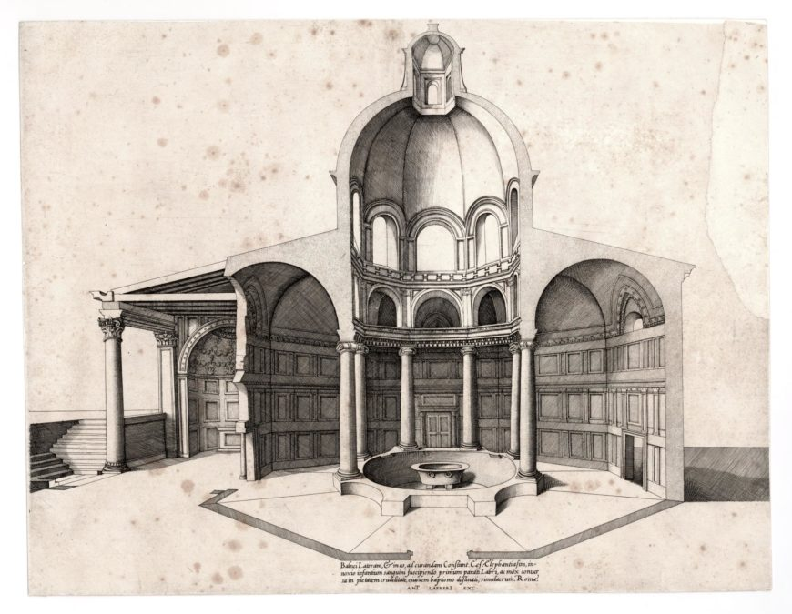 Nicolas Beatrizet, Lateran Baptistery in Rome, reconstruction, 1550s, engraving (The British Museum)