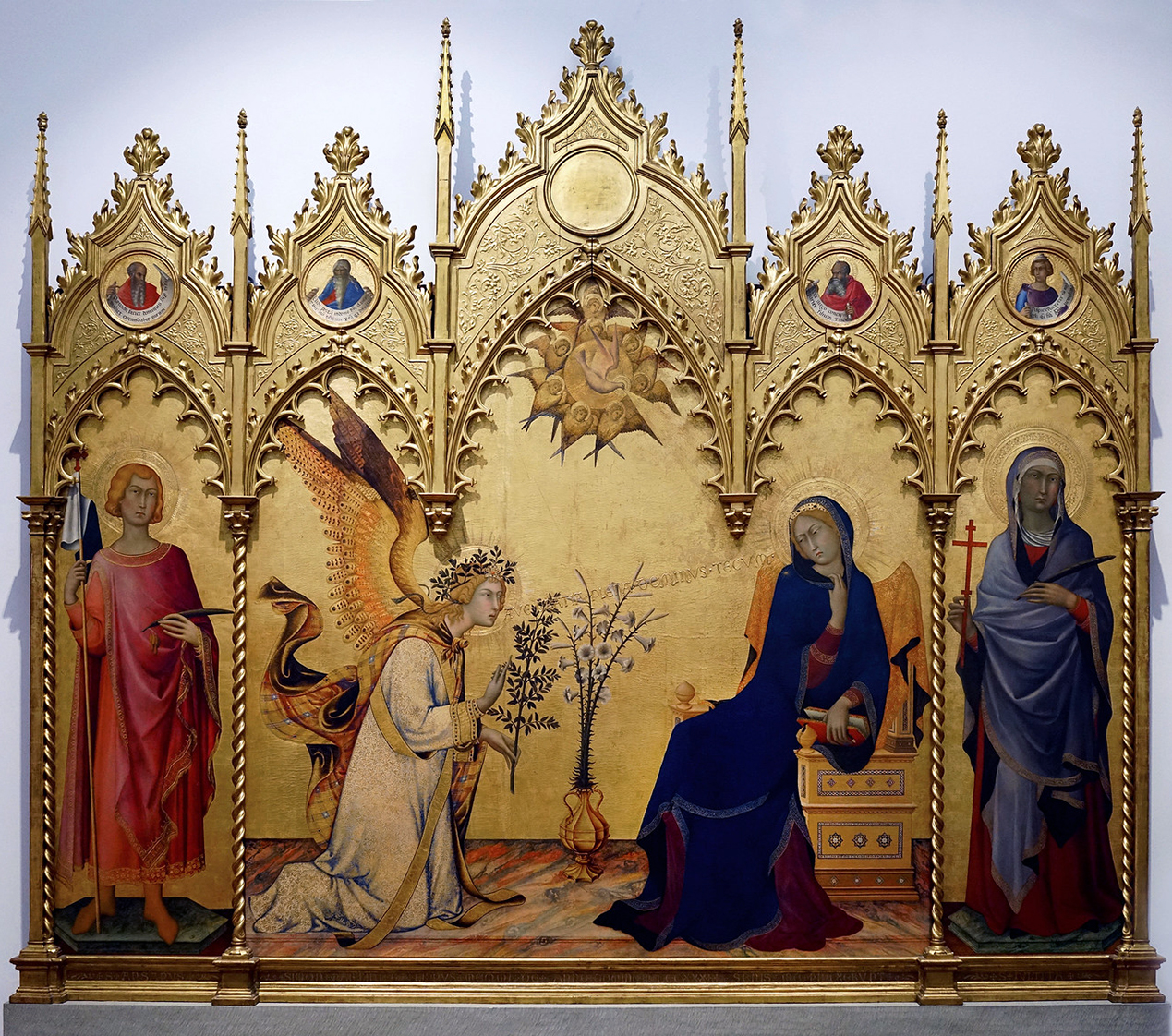 Simone Martini, The Annunciation, 1333, tempera on panel, 72 1/2 x 82 5/8 inches or 184 x 210 cm (Uffizi, Florence)