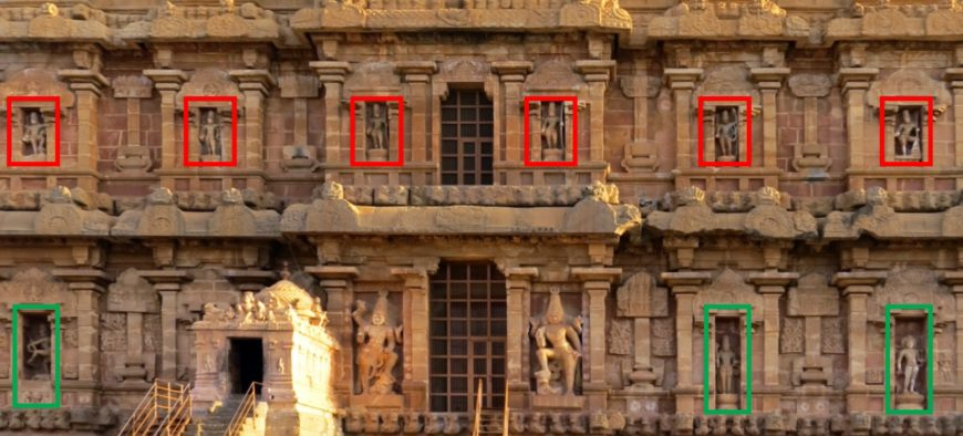South wall of Rajarajesvara temple. Shiva as Tripurantaka marked in red; various forms of Shiva marked in green. Guardian figures flank the doorway at the center of the lower level. (photo: Arathi Menon, CC BY-SA-NC 4.0)