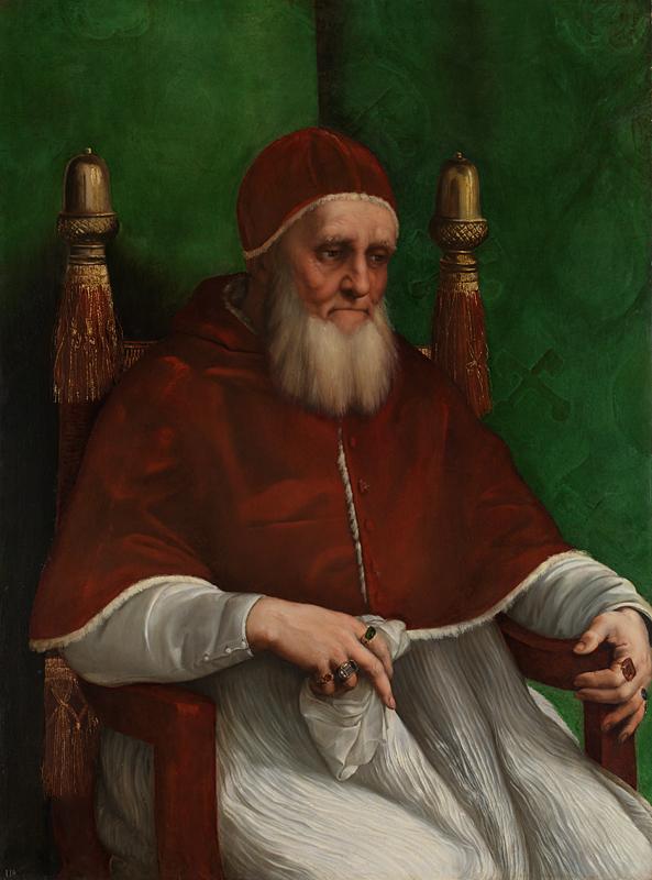 Raphael, Portrait of Pope Julius II, 1511, oil on poplar, 108.7 x 81 cm (National Gallery, London)