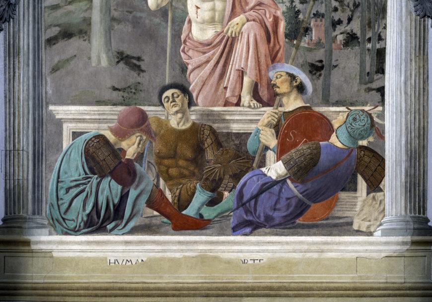 Piero della Francesca, Christ (detail), The Resurrection, c. 1463-65, fresco, 225 x 200 cm (Museo Civico, Sansepolcro, Italy)