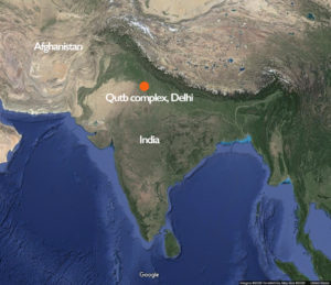 Map showing the Qutb archaeological complex in Delhi, India