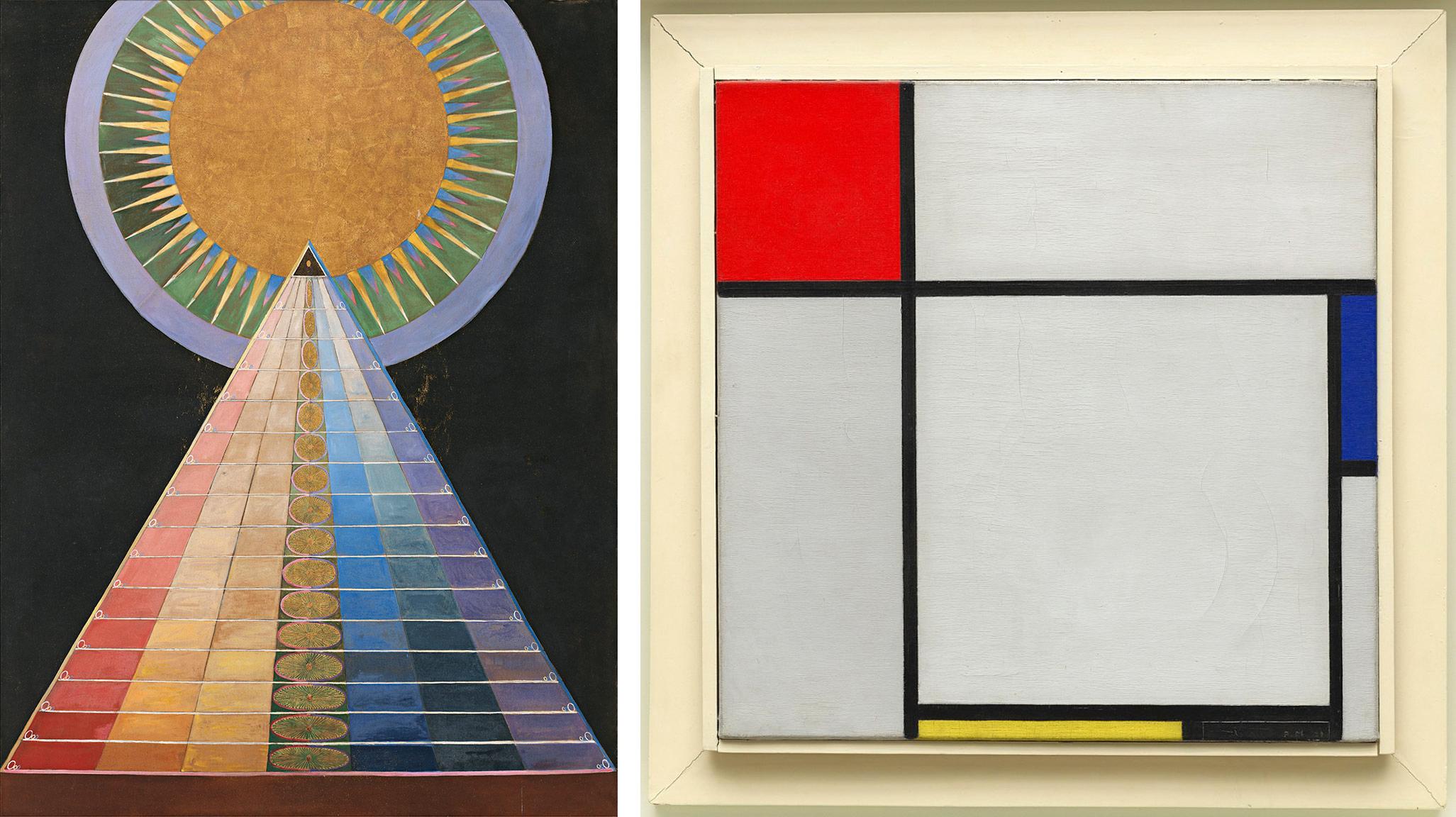 Left: Hilma af Klint, Group X, No. 1, Altarpiece (Altarbild), 1915. Oil and metal leaf on canvas, 93 1/2 x 70 11/16 inches (237.5 x 179.5 cm); Right: Piet Mondrian, Composition, 1929, oil on canvas, 45.1 x 45.3 cm (Guggenheim Museum)