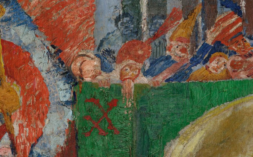 James Ensor, Christ's Entry into Brussels in 1889, detail, 1888, oil on canvas, 99 1/2 x 169 1/2 inches (J. Paul Getty Museum, Los Angeles)