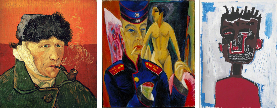 Left: Vincent van Gogh, Self-Portrait with Bandaged Ear and Pipe, 1889, oil on canvas (The Courtauld Gallery, London); Center: Ernst Ludwig Kirchner, Self-Portrait as a Soldier, 1915, oil on canvas, 69 x 61 cm (Allen Memorial Art Museum); Right: Jean-Michel Basquiat, Self-Portrait, 1984, acrylic and lipstick on paper, 98.7 x 71.1 cm (Gagosian)