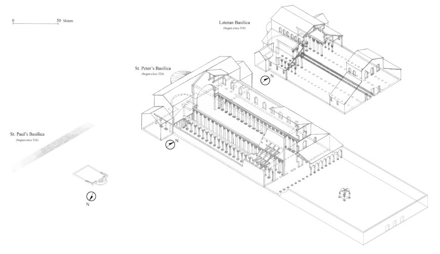 Comparative view of the Constantinian basilicas at St. Paul's, St. Peter's, and at the Lateran. Model of St. Paul's by Evan Gallitelli. Image by Evan Gallitelli includes drawings by Konstantin Brandenburg published in Hugo Brandenburg's Ancient Churches of Rome from the Fourth to the Seventh Century (Turnhout: Brepols, 2004), fig. 1. (© Nicola Camerlenghi)
