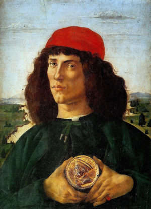 Sandro Botticelli, Portrait of a Man with a Medal of Cosimo il Vecchio de' Medici, c. 1474, tempera on panel, 57.5 x 44 cm (Galleria degli Uffizi, Florence)