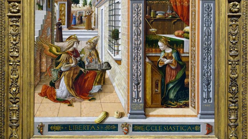 Carlo Crivelli, The Annunciation with Saint Emidius, 1486, egg and oil on canvas, 207 x 146.7 cm (The National Gallery, London)