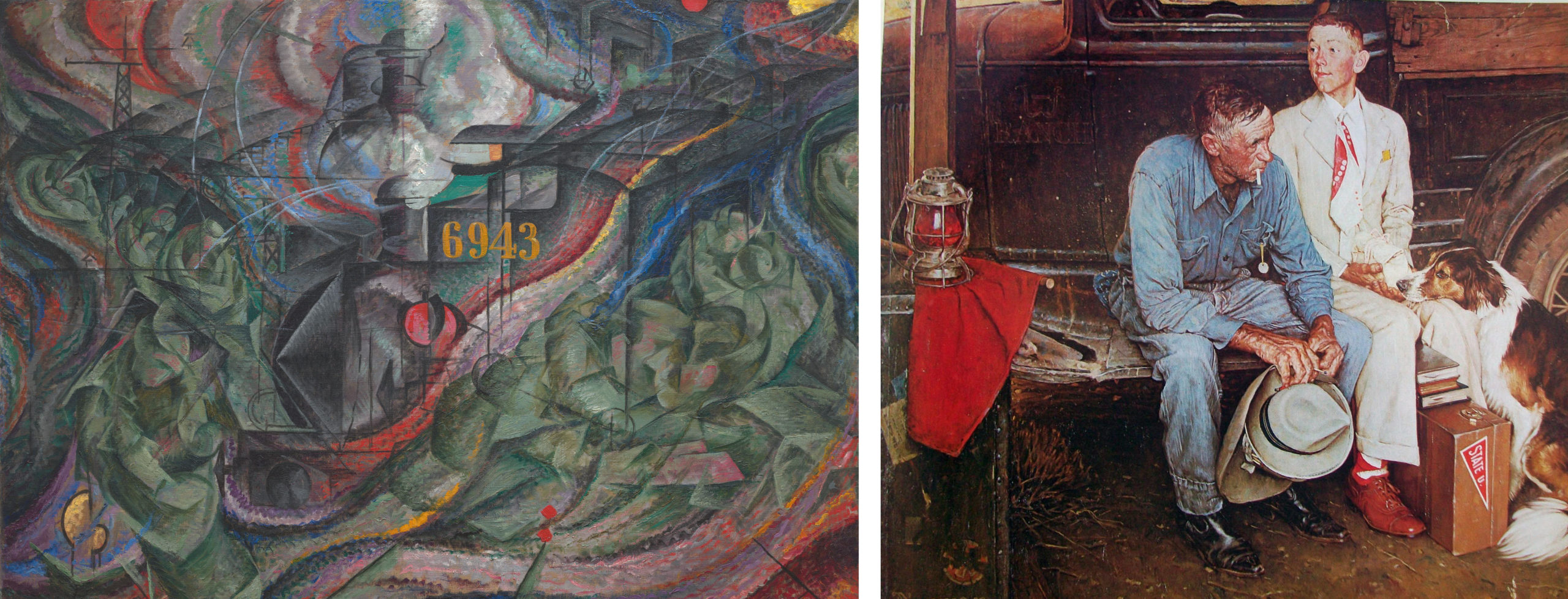 Left: Umberto Boccioni, States of Mind: The Farewells, 1911, oil on canvas, 70.5 x 96.2 cm (MoMA); Right: Norman Rockwell, Breaking Home Ties, 1954, oil on canvas, 112 x 112 cm (private collection)