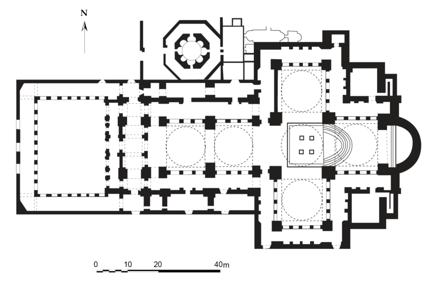 Reconstructed floor plan, church of St. John the Evangelist, Ephesus, drawn after Clive Foss, Ephesus after Antiquity: A late antique, Byzantine and Turkish City (Cambridge: Cambridge University Press), 1979. (Cordanrad, CC BY 3.0)