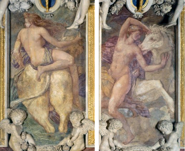 Workshop of Rosso Fiorentino, scenes flanking the The Royal Elephant: Zeus and Europa (left) and Saturn and Phylira (right), Gallery of Francis I, Château de Fontainebleau, 1528-1540, fresco (photo: cea +, CC BY 2.0)