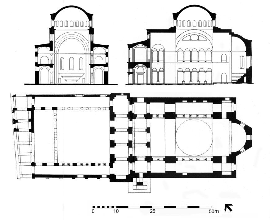 Hagia Eirene, Constantinople (Istanbul), plan and hypothetical sections of the sixth-century building (© Robert G. Ousterhout, adapted from S. Ćurčić, Architecture in the Balkans, 2010)