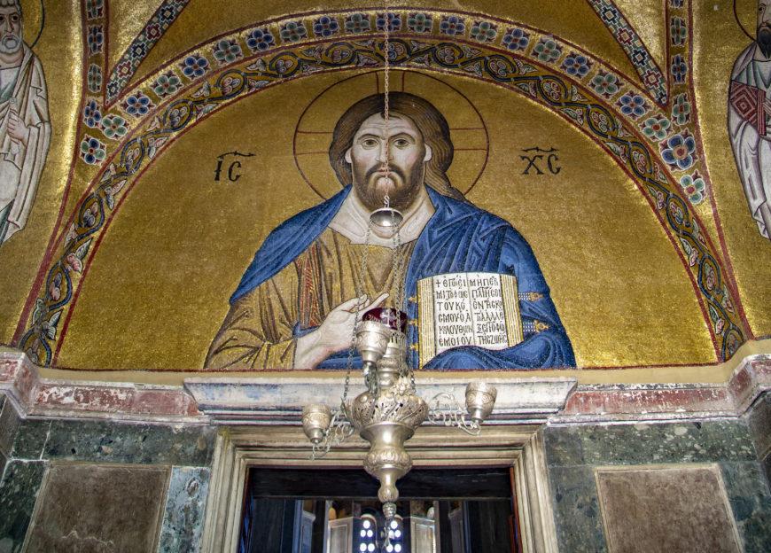 Christ Pantokrater mosaic, narthex, katholikon, Hosios Loukas, 11th century, Boeotia (photo: Evan Freeman, CC BY-SA 4.0)