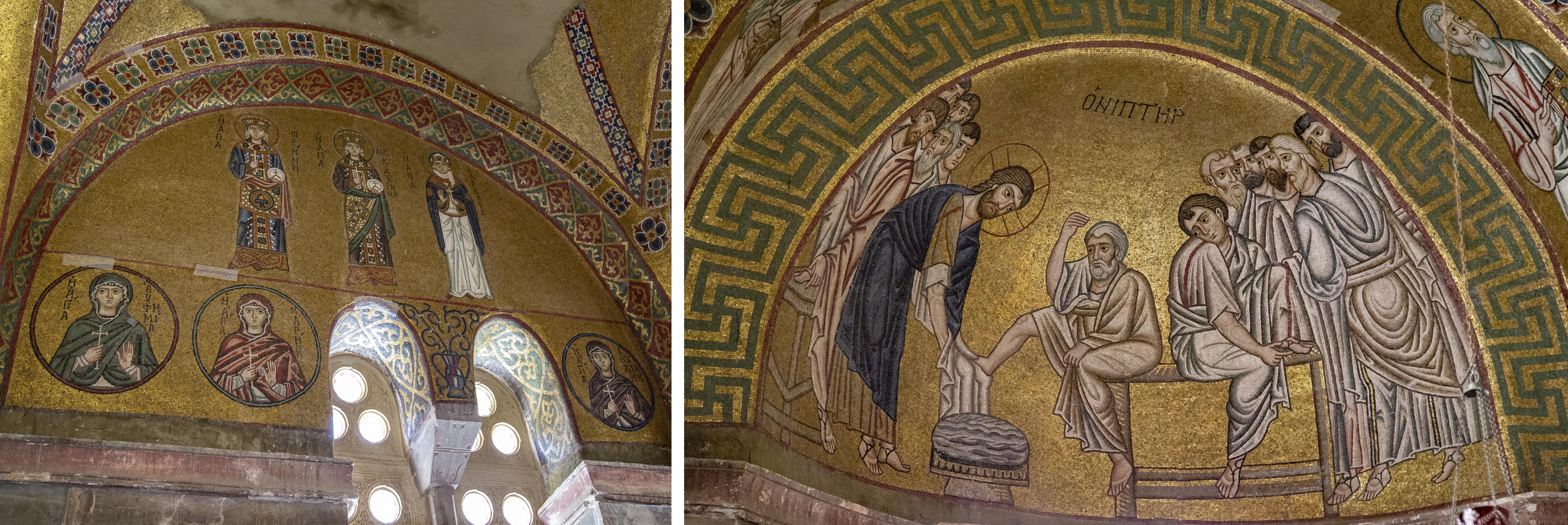 Narthex mosaics, left: a group of women saints, right: Christ washing his disciples' feet, katholikon, Hosios Loukas, Boeotia, 11th century (photo: Evan Freeman, CC BY-SA 4.0)
