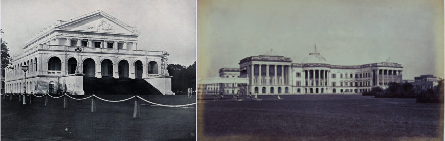Left: Banqueting Hall (now Rajaji Hall), 1802, Chennai (photographed c. 1905, public domain); Right: Government House (now Raj Bhavan), 1803, Kolkata (photographed c. 1865, public domain)