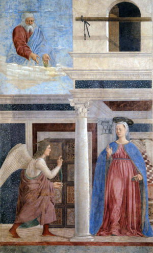 Piero della Francesca, Annunciation, 1452–66, fresco, 329 x 193 cm (San Francesco, Arezzo)