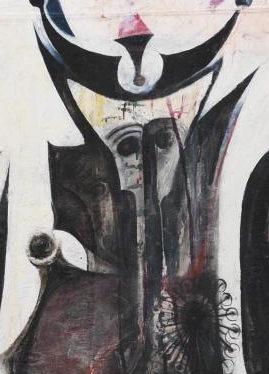 Ibrahim El-Salahi, Reborn Sounds of Childhood Dreams, detail, enamel and oil on cotton, 258.8 x 260 cm (Tate, London)