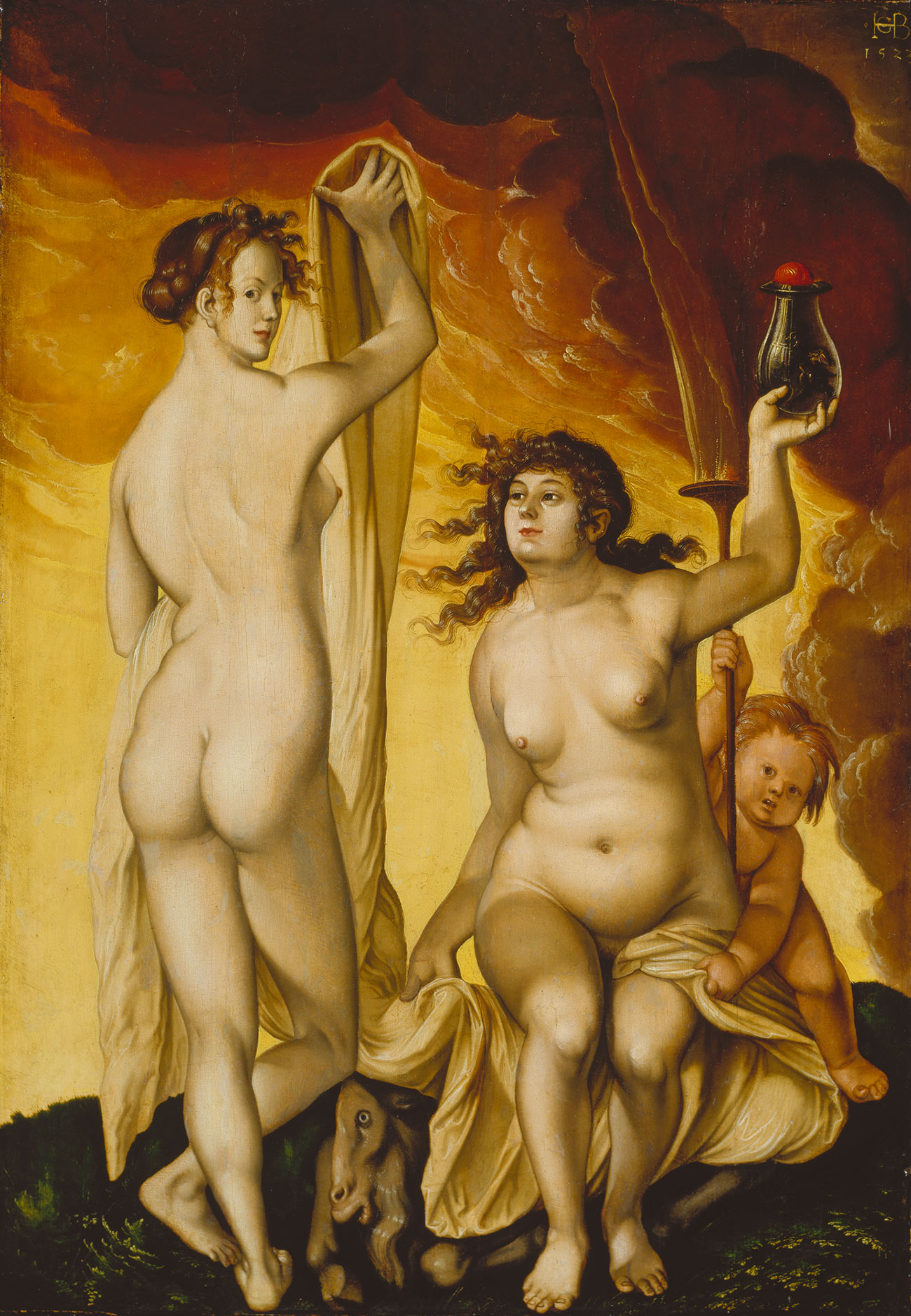 Hans Baldung Grien, Two Witches, 1523, oil on bass wood, 30 13/16 × 23 11/16 inches (Städel Museum, Frankfurt am Main)