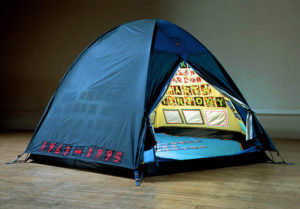 Tracey Emin, Everyone I Have Ever Slept With 1963 - 1995, 1995 Appliquéd tent, mattress and light 122 x 245 x 214 cm (Saatchi Gallery)