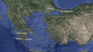 Late Byzantine cities and fortifications (underlying map © Google)