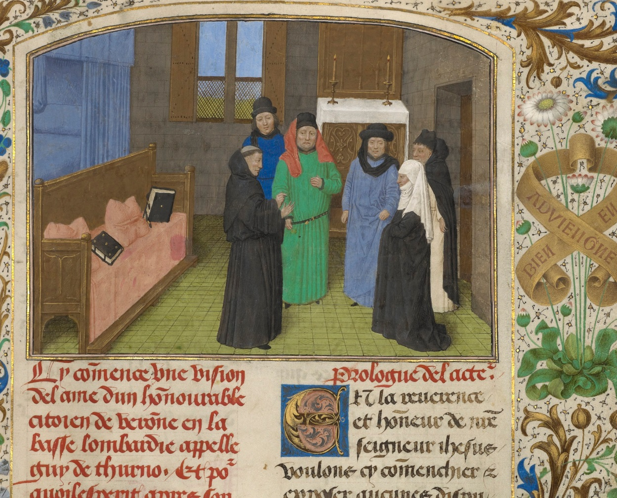 A Priest and Guy's Widow Conversing with the Ghost of Guy de Thurno (detail) from The Visions of the Soul of Guy de Thurno, 1475, Simon Marmion. The J. Paul Getty Museum, Ms. 31, fol. 7