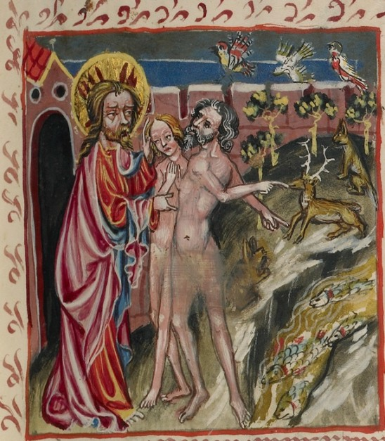 God with Adam and Eve in Rudolf von Ems' World Chronicle, 1487. The J. Paul Getty Museum, Ms. 33, fol. 5
