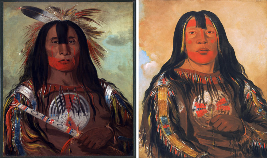 Left: George Catlin, Stu-mick-o-súcks, Buffalo Bull's Back Fat, the Head Chief of the Blood Tribe (Blackfoot), 1832, oil on canvas, 73.7 x 60.9 cm (Smithsonian American Art Museum); right: George Catlin, <em>Peh-tó-pe-kiss, Eagle's Ribs</em> (Blackfoot), 1832, oil on canvas, 73.7 x 60.9 cm (Smithsonian American Art Museum)