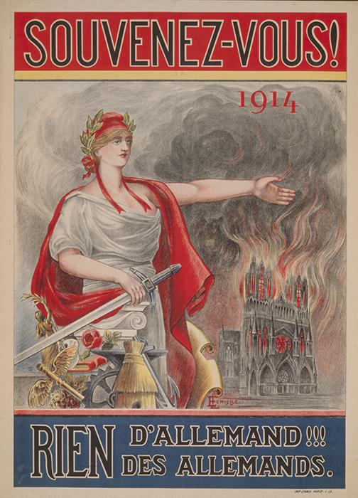 E. Lemielle, Souvenez-vous! 1914. Rien d'Allemand!!! Des Allemands (Remember! 1914. Nothing German! Nothing from the Germans), 1919, color lithograph, 83 x 60 cm (Library of Congress)