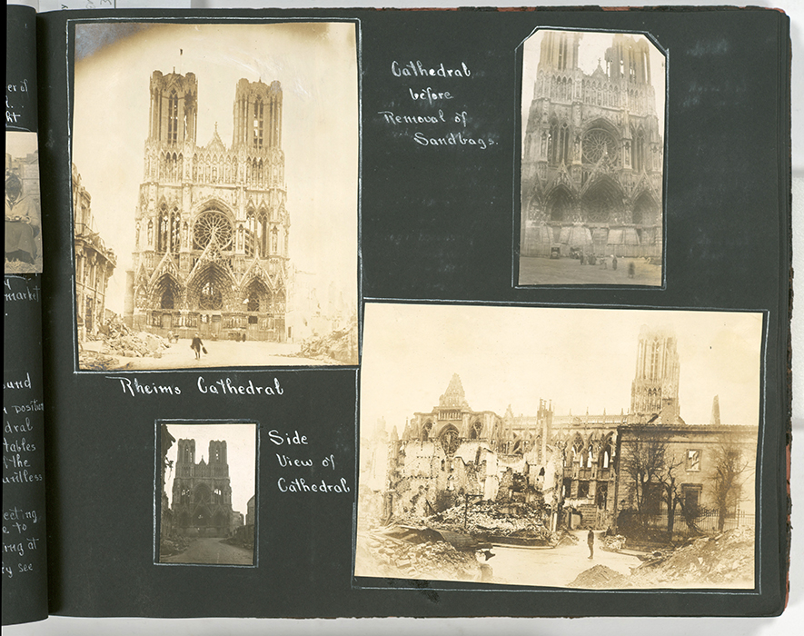"""Cathedral before removal of sandbags; Rheims Cathedral; side view of cathedral"" (New York Public Library Digital Collections)"
