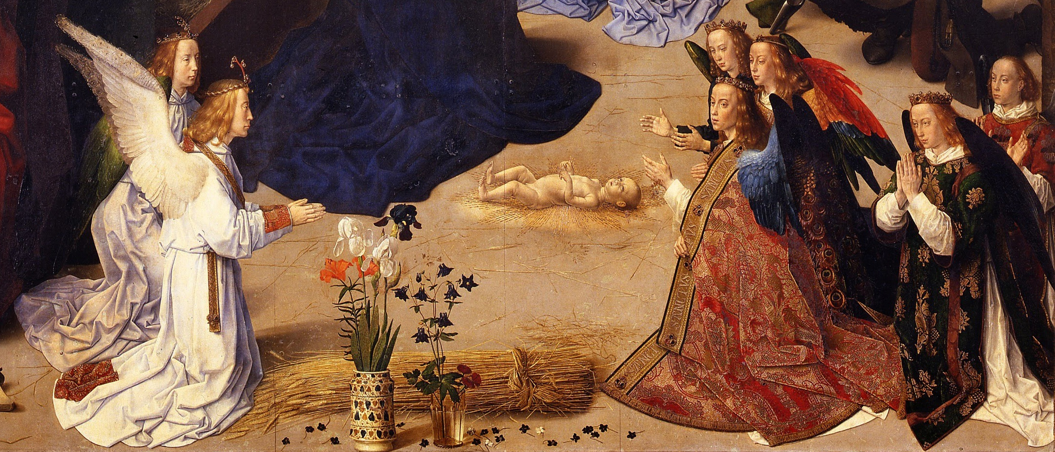 Hugo van der Goes, Portinari Altarpiece, detail of the center panel foreground, c. 1476, oil on wood, 274 x 652 cm when open (Uffizi)