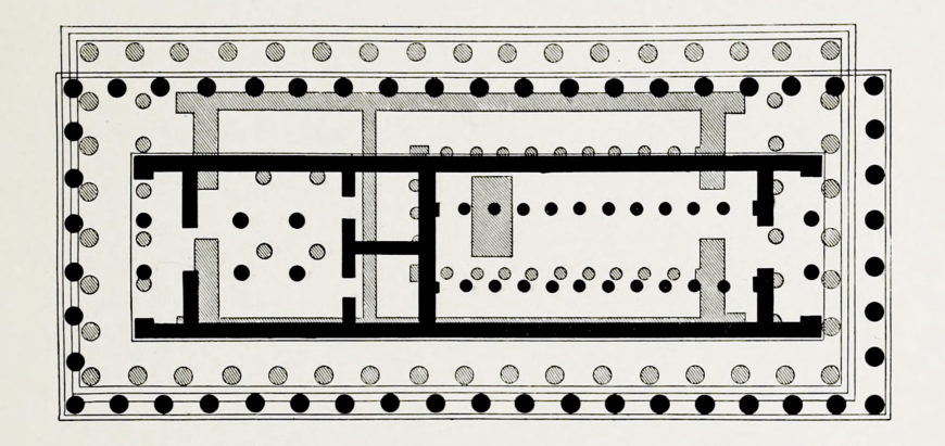 Plan of the Older Parthenon (black) superimposed on that of the Parthenon (hatch marks).