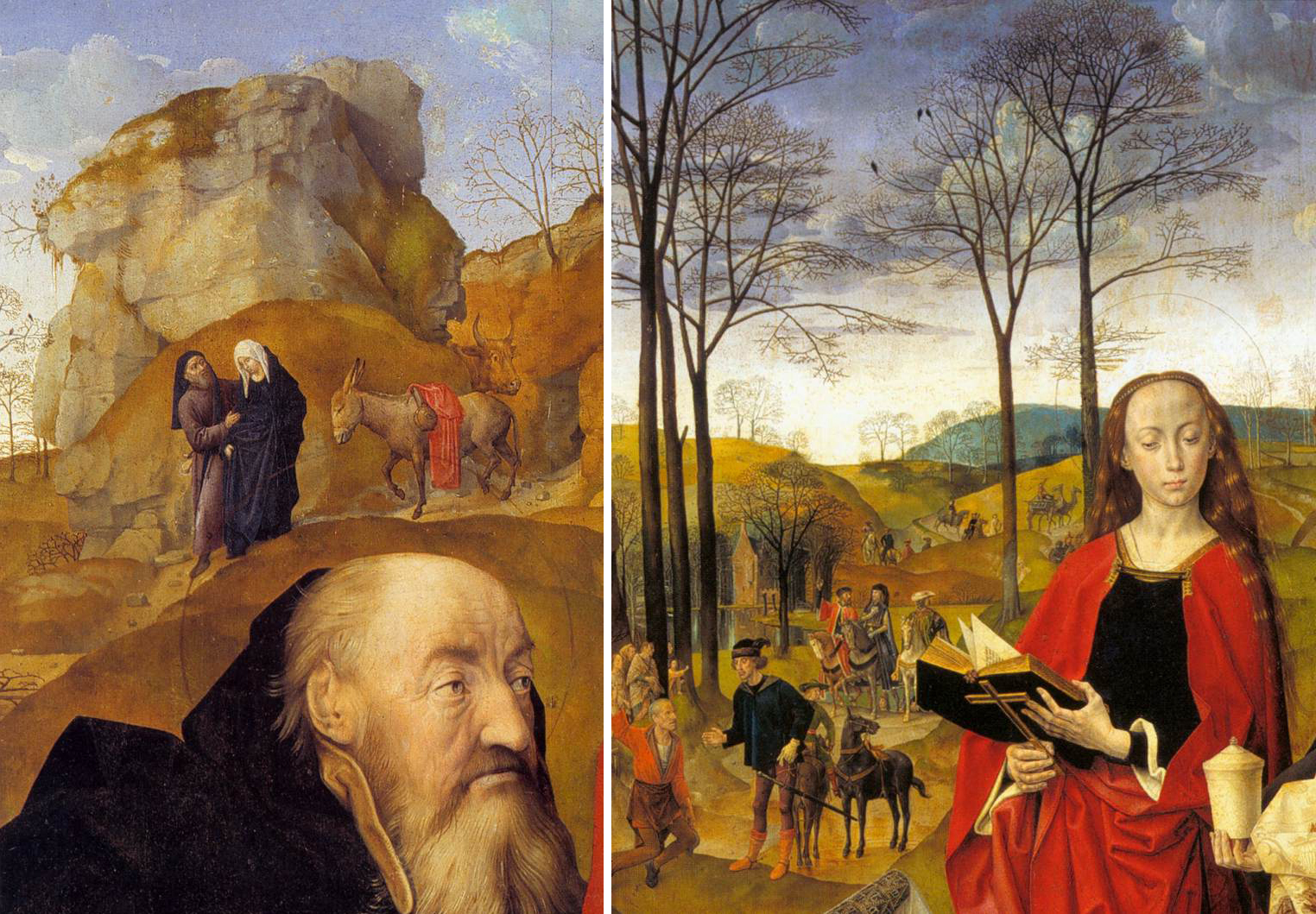Hugo van der Goes, Portinari Altarpiece, details of the Holy Family and the Magi, c. 1476, oil on wood, 274 x 652 cm when open (Uffizi)