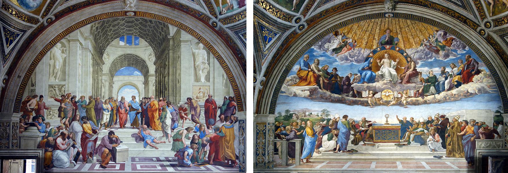 Raphael, School of Athens (left) and Disputà (right), fresco, 1509-1511 (Stanza della Segnatura, Papal Palace, Vatican)