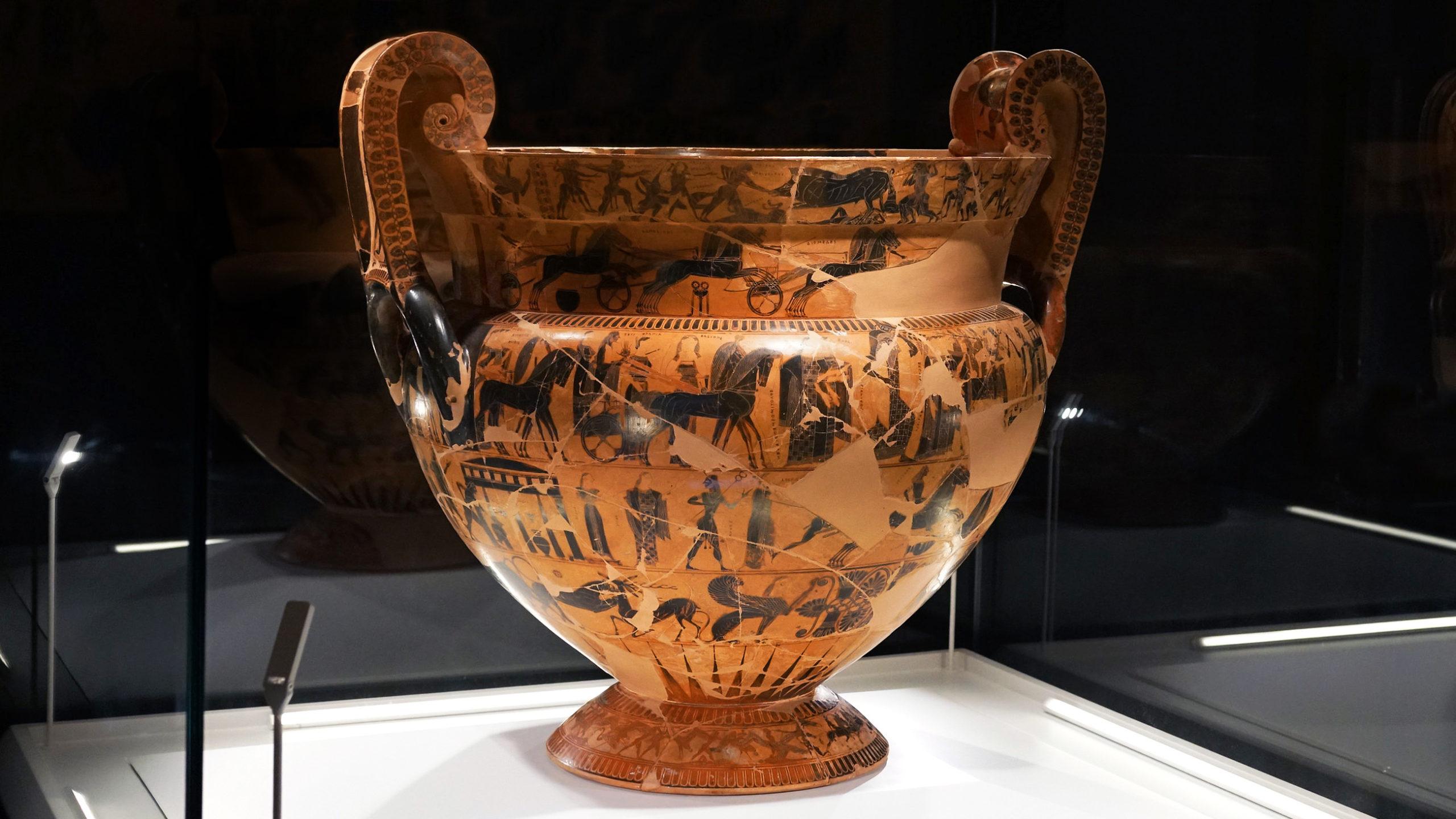 Kleitias (painter) and Ergotimos (potter), François Vase (volute-crater), mid 6th century B.C.E., Attic black-figure (made in Athens), 66 cm (Museo Archeologico, Florence)