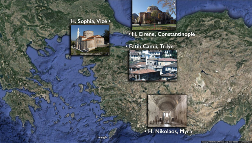 """Map showing architecture of the """"Transitional Period"""" (underlying map © Google)"""