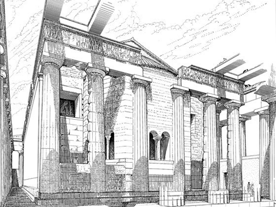 Reconstruction drawing of the church inside the Parthenon by M. Korres from Panayotis Tournikiotis, The Parthenon and Its Impact in Modern Times (New York, 1996).
