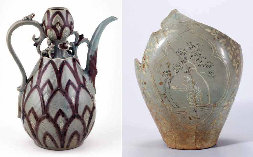 Left: Ewer, Korea, Goryeo Dynasty, 918–1392, mid-13th century, stoneware with copper-red pigment and white slip under celadon glaze, H x W: 30.5 x 16.7 cm, (National Museum of Asian Art); right: Celadon Jar with Inlaid Monkey and Tree Design in Overglaze Gold, Korea, Goryeo Dynasty, 918–1392, Stoneware uinlaid decoration and overglaze gold pigment on celadon glaze, H. 25.5 cm, (National Museum of Korea)