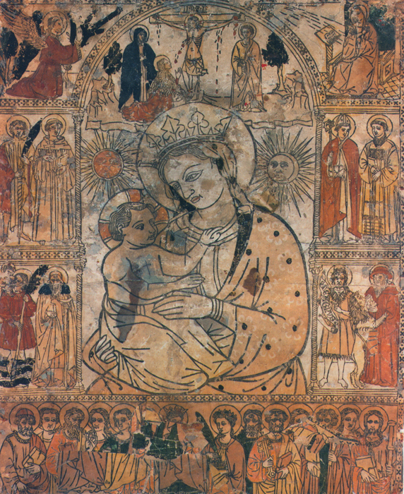 Unknown 15th−century printmaker, Madonna of the Fire, before 1428, woodcut, hand colored with paint, dimensions unknown (Cathedral of Santa Croce, Forlì, Italy)