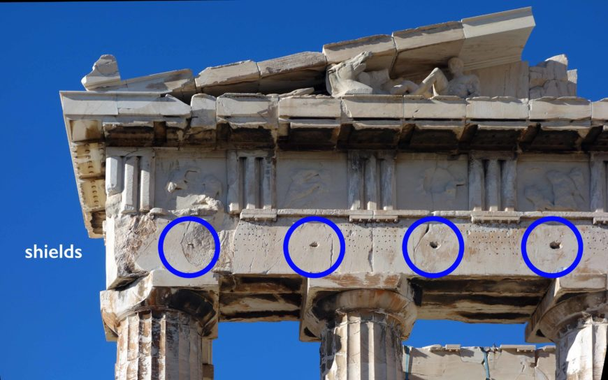 Parthenon with Persian shields from Alexander the Great just below the metopes