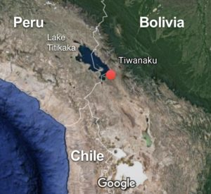 Map showing the location of Tiwanaku