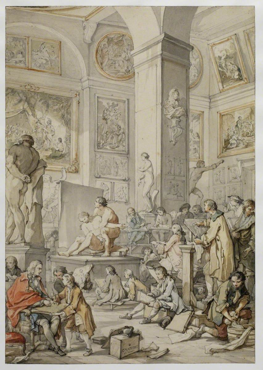 Charles Joseph Natoire, Life Class at the Royal Academy of Painting and Sculpture, 1746, pen, black & brown ink, grey wash & watercolour & traces of pencil over black chalk on laid paper, 45.3 x W 32.2 cm (The Courtauld Gallery)