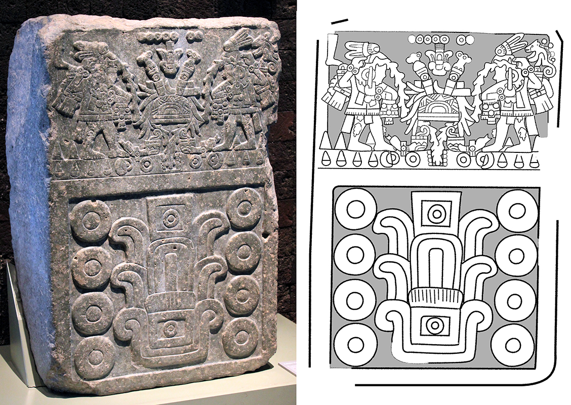 The Aztec Dedication Stone features a scene of a deceased king and his successor performing autosacrifice above a large date glyph corresponding to 1487–1488 (Images: Left- Sarahh Scher, CC BY-NC-ND 2.0; Right- Zach Lindsey, CC BY-SA 4.0)